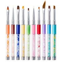 10pcs/set Nail Art Drawing Line Painting Gradient Brush Eye Cat Rhinestones Design UV Gel Polish Nail Pen Manicure Tools