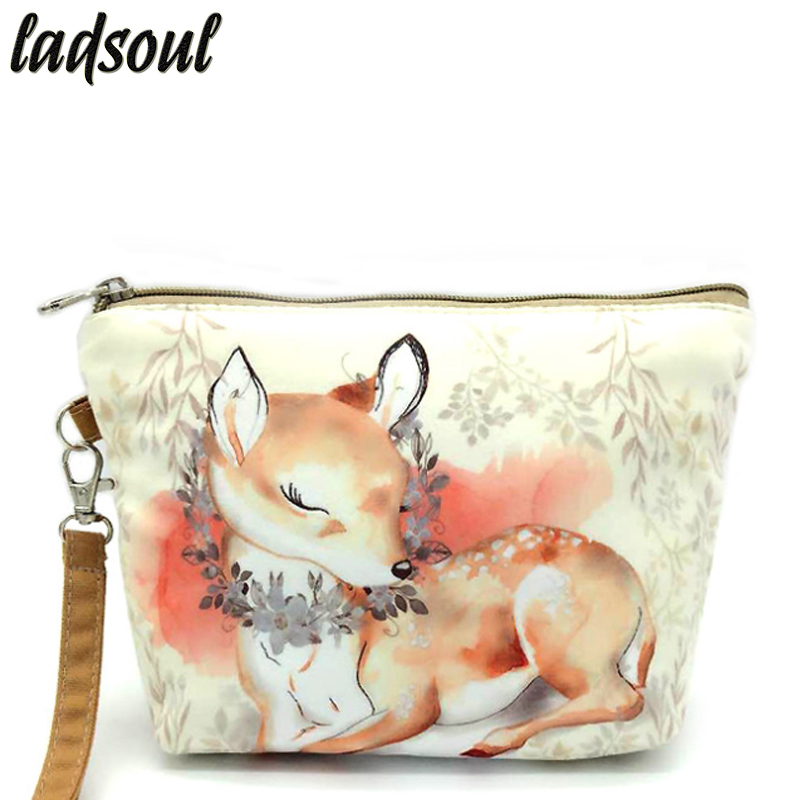 LADSOUL 2018 Fashion Cosmetic Bag High Quality Makeup Bag Cartoon Printing Organizer Bags Canvas Portable Storage Bags A1340/g aosbos fashion portable insulated canvas lunch bag thermal food picnic lunch bags for women kids men cooler lunch box bag tote