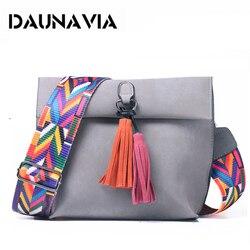 DAUNAVIA бренд Женщины Скраб Кожа Дизайн Crossbody Сумка женская через плечо с красочный ремешок сумки для женщинсумки кисточка сумка для девочек с...