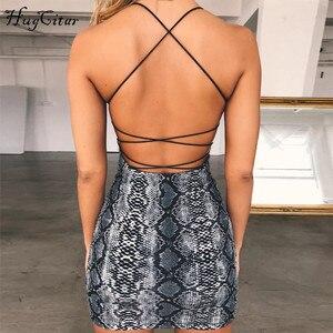 Image 3 - Hugcitar backless seksi bodycon mini elbise 2019 yaz sonbahar kadın moda kulübü yılan baskı kulübü kolsuz elbise