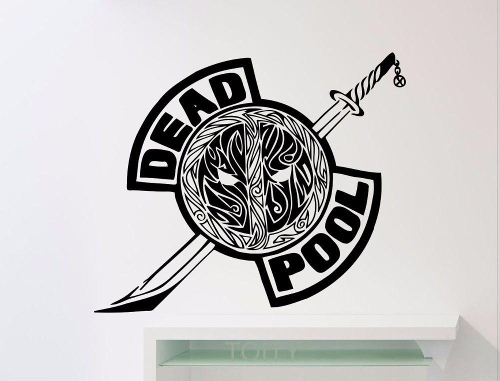 deadpool logo symbol wall decal superhero dc marvel comics