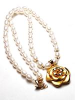 Natural Baroque Women Pearl 14K Gold Rose Flower Necklace Clavicle Chain Necklace Freshwater Pearl Necklace