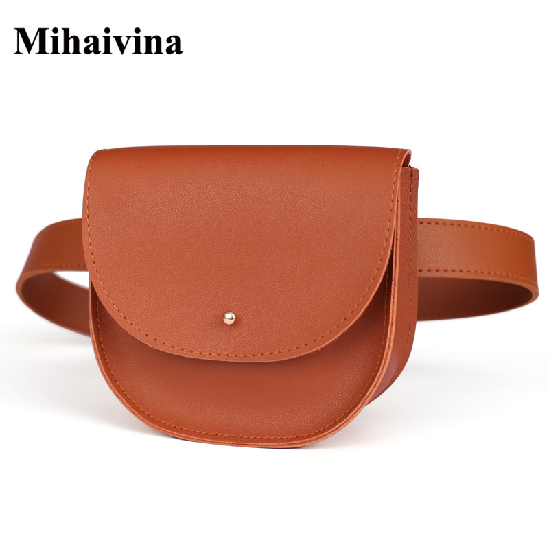 Mihaivina Fashion Women Bag Leather Waist Pack Female Belt Bag Phone Pouch Bags Chic Women Waist Packs Fanny Pack Chest Bolosa