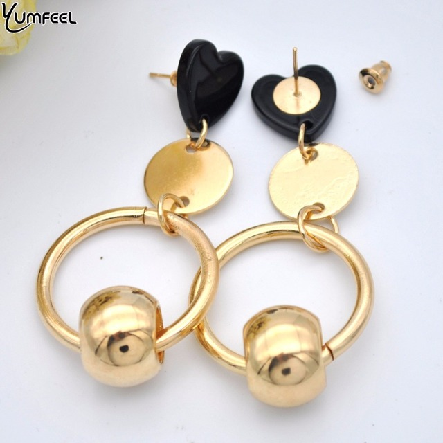 Yumfeel Brand New Fashion Accessory Earrings Heart Beaded Drop Earrings Pendientes Mujer Moda 3