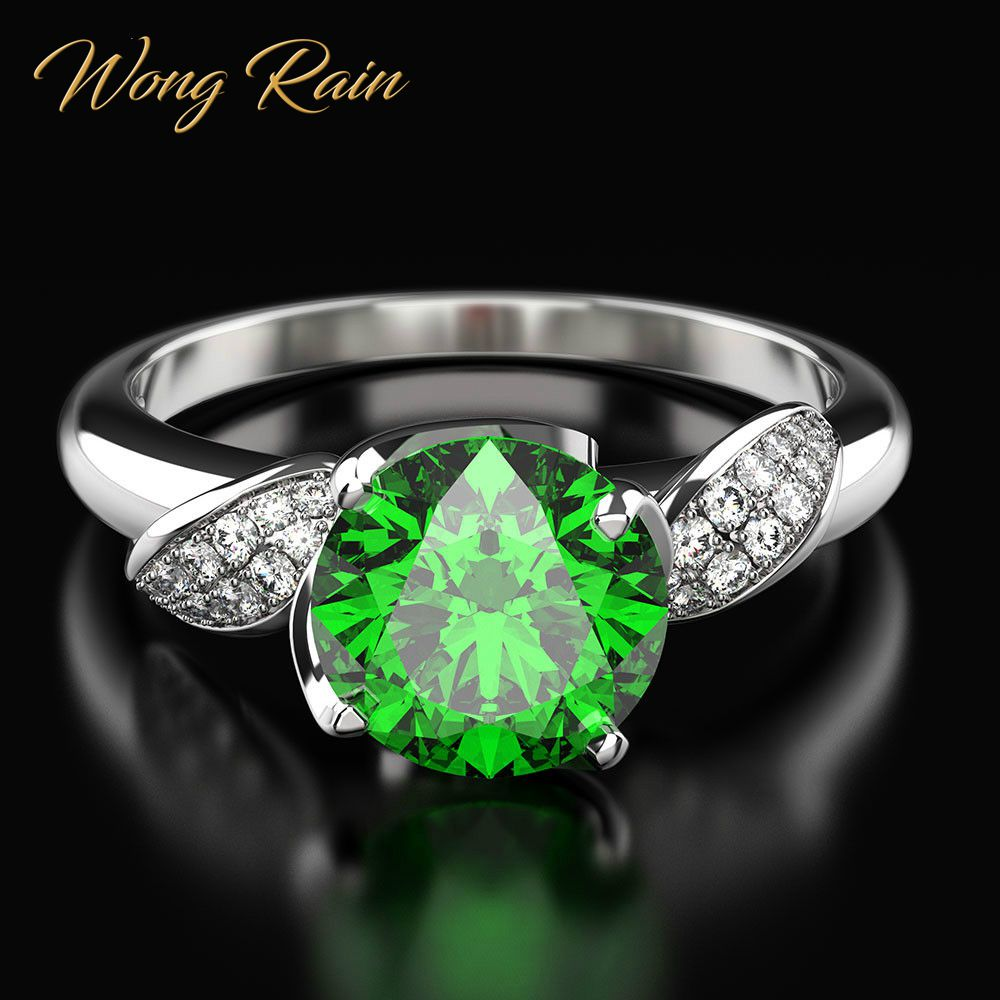 Wong Rain Vintage 100% 925 Sterling Silver Created Moissanite Gemstone Birthstone Wedding Engagement Ring Fine Jewelry Wholesale