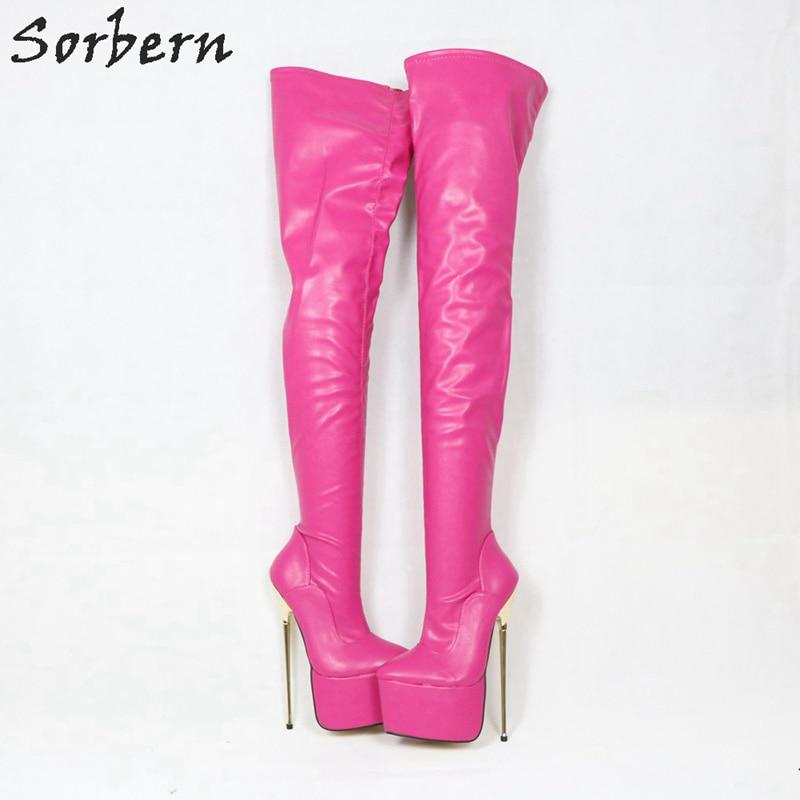 Sorbern Mode Heißer Rosa Gabelung Hohe Stiefel Für Frauen Metall Dünne High Heels Plattform Boot Lange Damen Schuhe Spitze Zehen benutzerdefinierte-in Überknie-Stiefel aus Schuhe bei  Gruppe 3