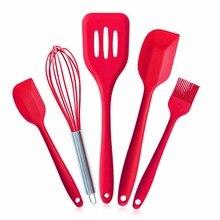 5 unids/set práctico cocina cocinar pasteles de silicona para hornear set h espátulas herramientas pincel de cocina diy de la hornada herramientas gadgets