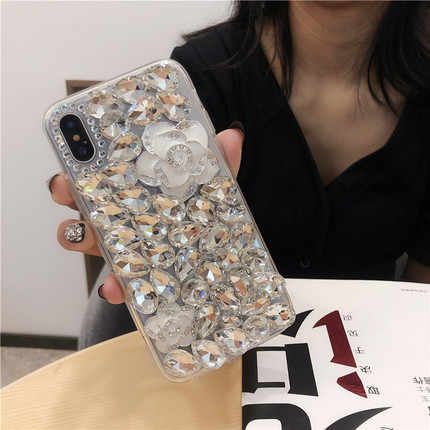 الفاخرة 3D الماس حالة حجر الراين بلينغ الهاتف غطاء الكريستال فوندا كوكه لسامسونج غالاكسي S10 S9 S8 زائد S6 S7 حافة Note9 8 10