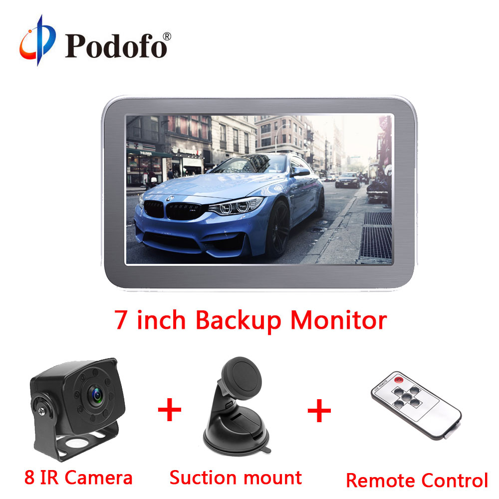 Podofo 7'' Car Monitor for Rear View Camera Auto Parking Backup Reverse Monitor+ 8 IR LED Night Vision Reverse Camera for RV цена