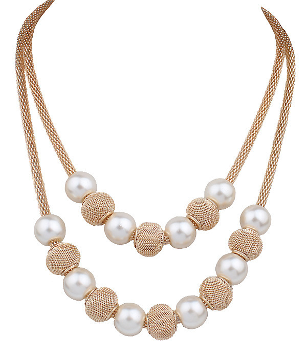 6a2d988e2d35 2016 de moda de doble capa collar de perlas de imitación joyería Bola de  metal de oro cadena de oro colgante gargantilla Collar para las mujeres  DL906435