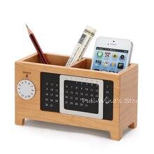 Творческий деревянный для хранения дерево двигаться календарь рабочего коробка для хранения сортировки ручки чехол