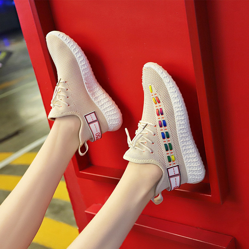 Flying Weaving Shoes Women Coconut Shoes sneaker Canvas Air breathable Run Shoes Fashion celebrity Thick bottom Casual 38