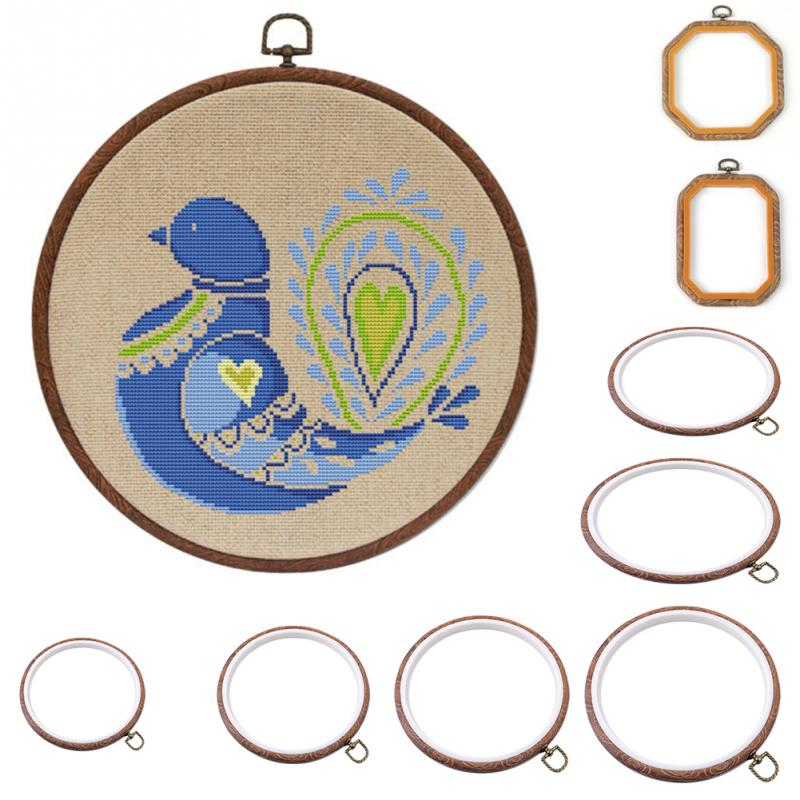 Hoop-Ring Frame Crafts-Tools Sewing-Kit Cross-Stitch Circle Rectangle/octagon Multi-Type