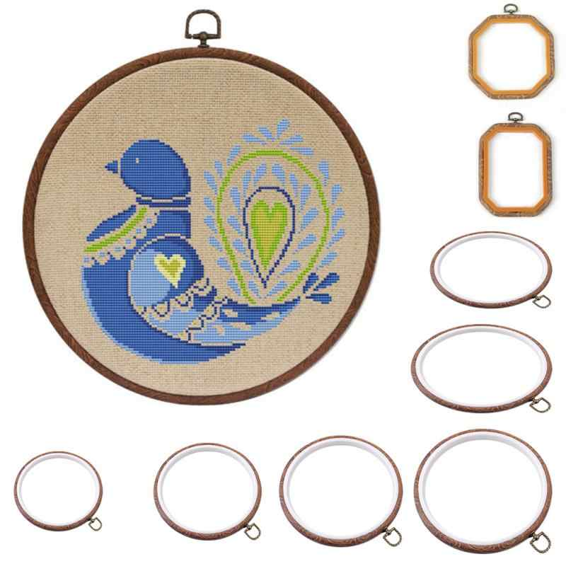 Round/oval/rectangle/octagon Multi Type embroidery hoop Photo Frame Cross Stitch Hoop Ring Circle Sewing Kit Frame Crafts tools