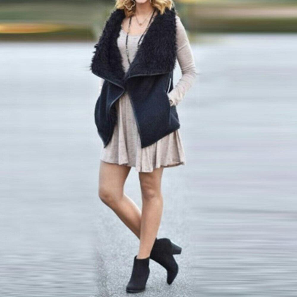Модная зимняя одежда теплая куртка Новинки для женщин Повседневное Модные без рукавов с отложным воротником сплошной цвет пальто жилет Бол...