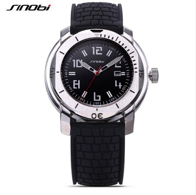 SINOBI Top Brand Dive Sport Watch Men Watch Fashion Military Wrist watches Silicone Men's Watch Clock saat relogio masculino недорого