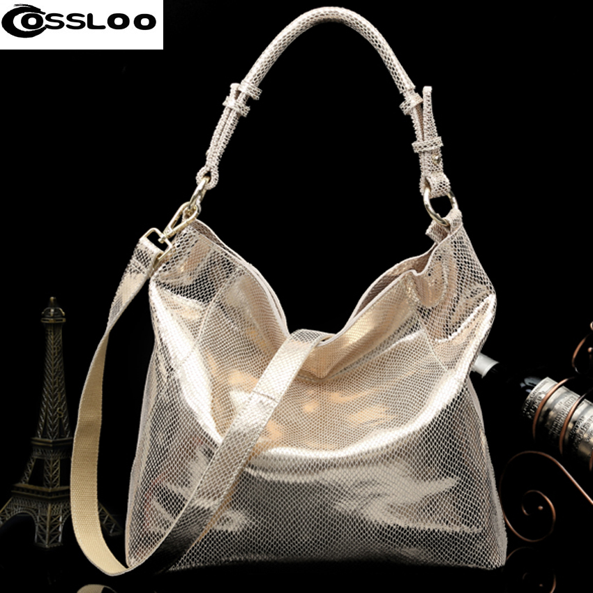 COSSLOO Fashion Genuine Leather Luxury Serpentine 100% Real Cow Leather Elegant Multi Functional Big Shoulder Bags For Women