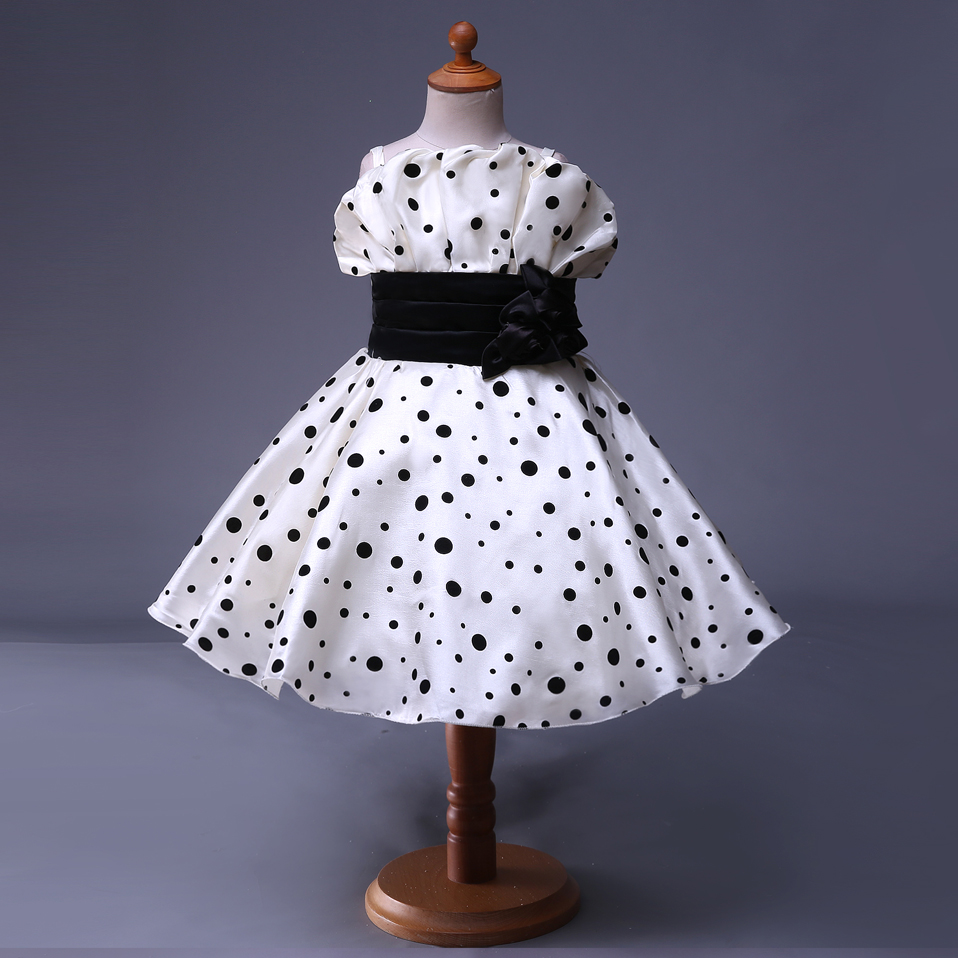 Fine Black And White Polka Dot Flower Girl Dresses Elaboration