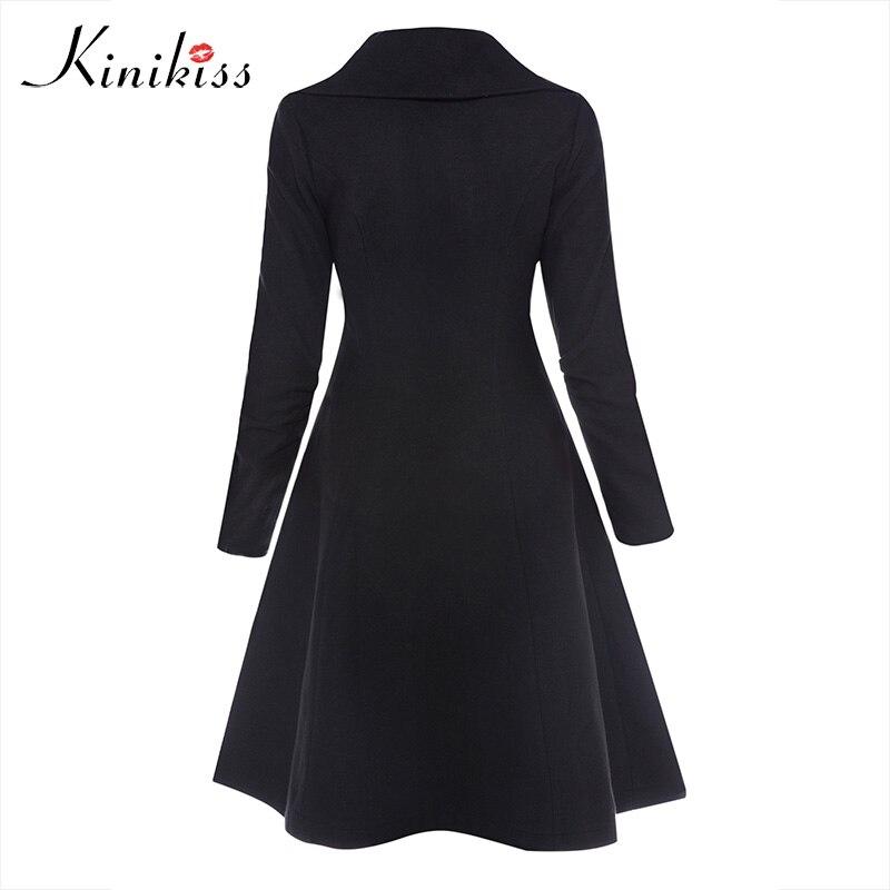 Kinikiss femmes hiver Long Trench manteau noir gothique col rabattu bouton Vintage pardessus tunique jupe Slim dame vêtements Outwear manteaux - 2