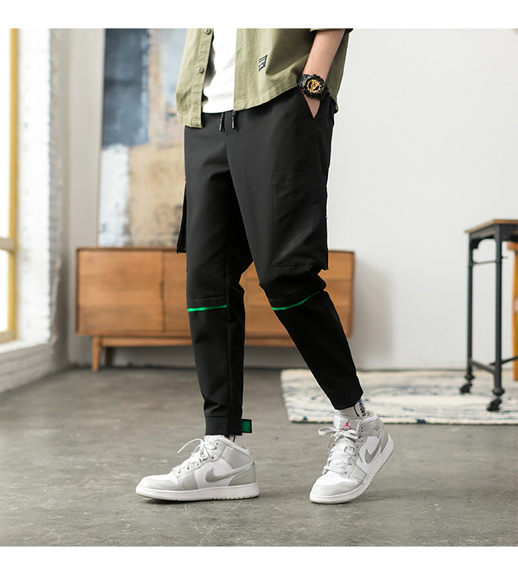 Latest Collection Of Only Discount Today Cargo Pants For Men Black Japanese Style Fashion High Street Stripe Pocket Homme Cargo Pants Zipper Elastic Pants