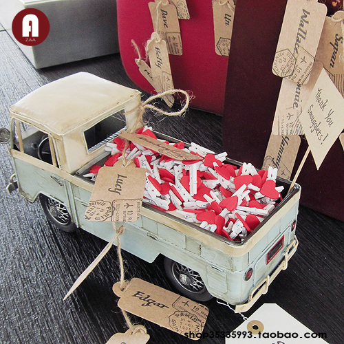Zaa handmade metal car models nostalgic toy car model transport truck