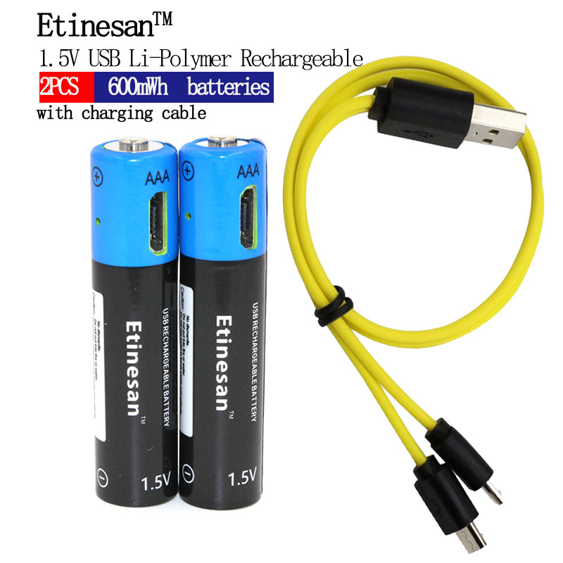 2pcs Etinesan 1.5V AAA 600mwh li-polymer li-ion lithium Rechargeable Toys Flashlight battery USB battery with USB charging line in 2500mah with protection board 554858 12v lithium polymer battery monitor 11 1v 605060 li ion cell