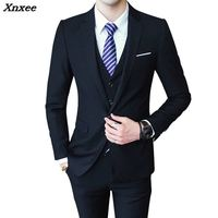 Mens 3 Pieces (jacket + vest + trousers) Male Busines Dress Slim Fit Suits Solid Color Groom Wedding Suits Outwear 4XL 5XL 6XL