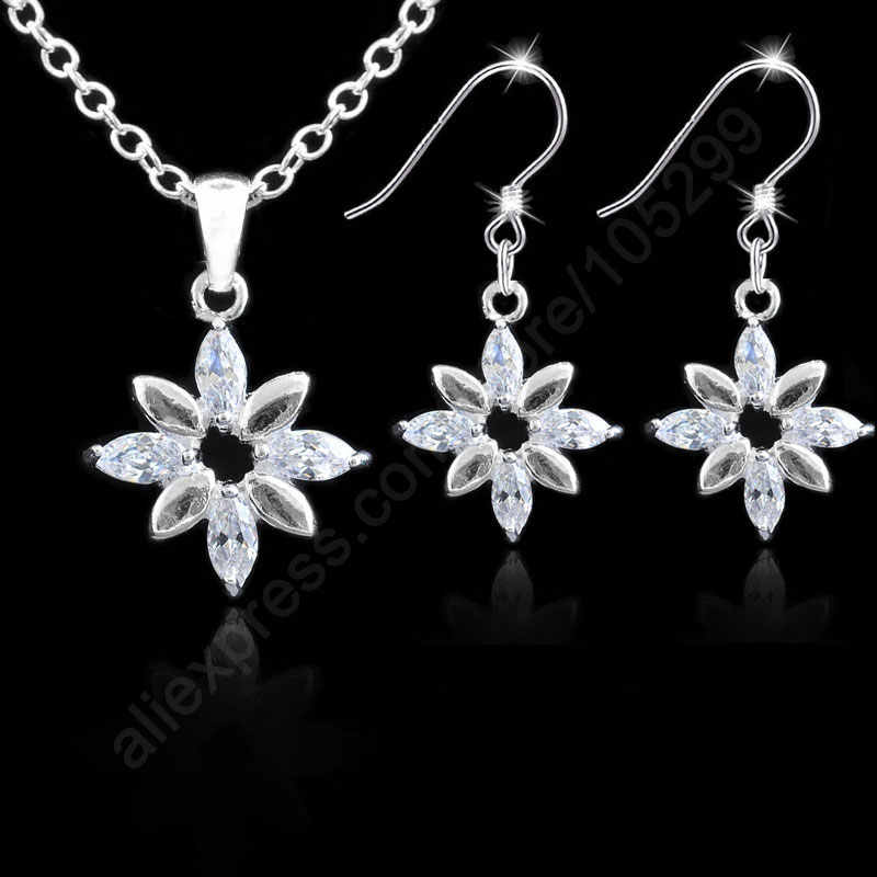 Nice Jewelry Sets Pure Fine 925 Sterling Silver Jewelry Sunflower Cubic Zirconia CZ Necklaces Earrings Hooks Woman Gifts 18""