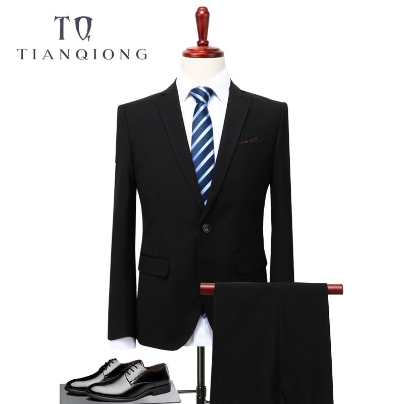 TIAN QIONG 2 Piece Suits Men Korean Latest Coat Pant Designs Black Mens Suit Autumn Winter Thick Slim Fit Wedding Dress Tuxedos