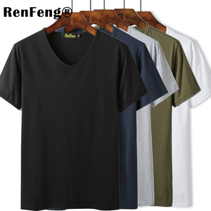 Image 1 - High Quality O V Neck Blank Black Cotton Basic T shirt Women Plain Simple T Shirt For Men Short Sleeve Cool Tops Hip hop Tees