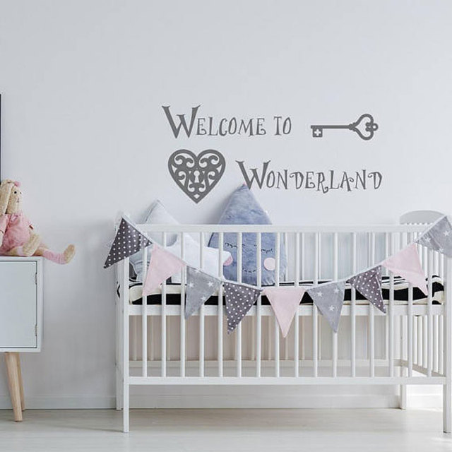 Alice In Wonderland Welcome To Wall Decal Nursery Room Quote Above Crib Decor