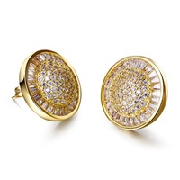Fashion Round Stud Earrings For Girl Gold Plated With CZ Stone Wedding Party Earring Body Jewelry