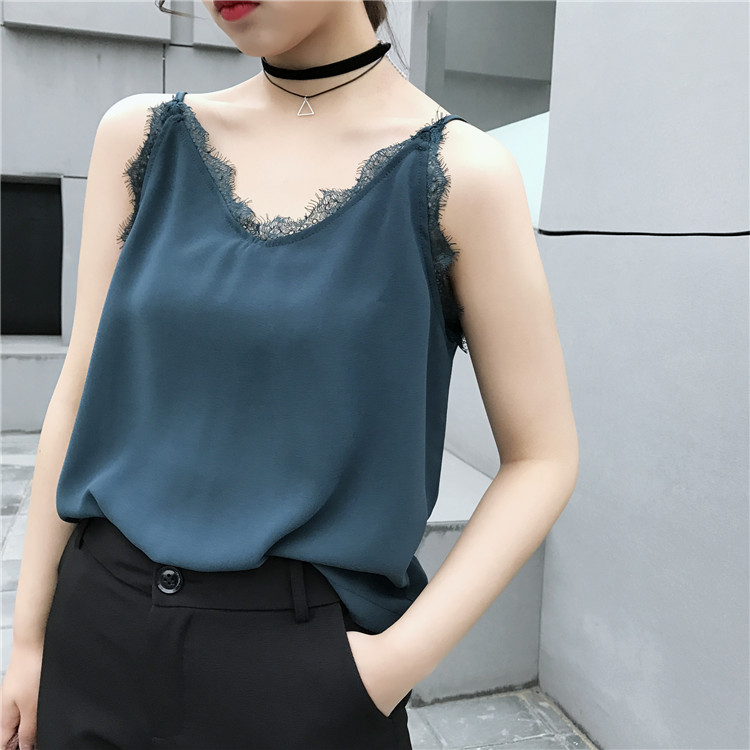 Women Sexy Tank Tops Sleeveless Tops Vest Summer Fashion Lace Chiffon Camisole Top fitness Cropped Feminino Crop Top Women