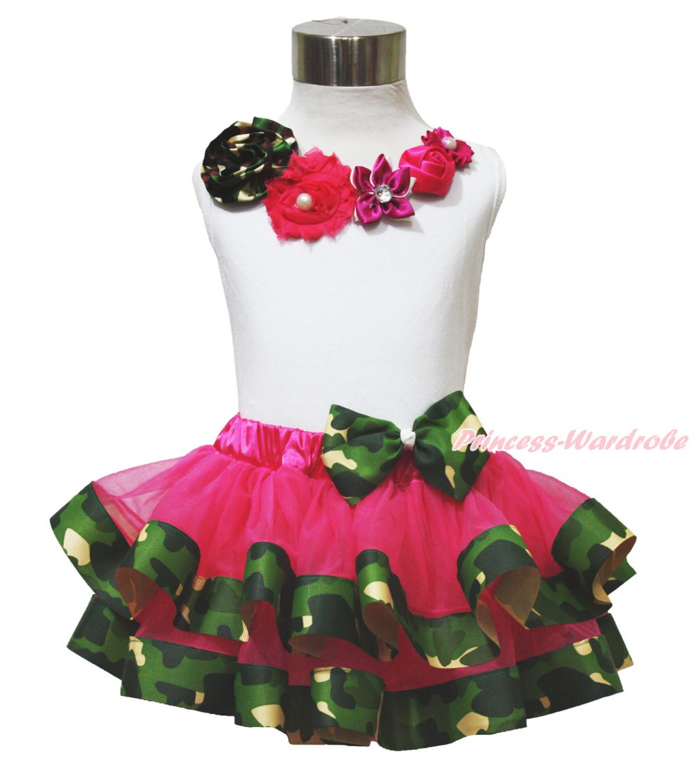 Vintage Garden Rose White Top Shirt Camouflage Girl Satin Trim Skirt Set NB-8Y MAPSA0650 hot pink top shirt camouflage lacing satin trim girl pettiskirt outfit set nb 8y mapsa0642