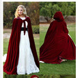 Winter snow burgundy wine cloak velvet floor long 2017 cheap shawl cloak bride