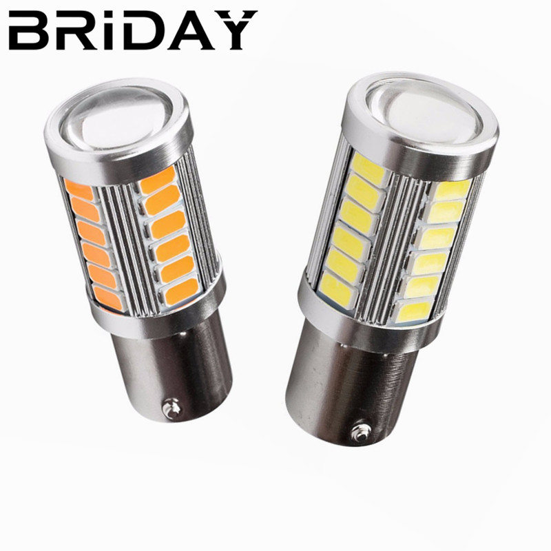2PCS 1156 BA15S P21W 33smd Car Reverse Tail Bulb Brake Lights Auto Lamp Daytime Running Light car-styling 12v white red yellow newest silica gel 1156 ba15s p21w 8led car tail bulb brake lights 360 degree shine auto reverse lamp white yellow lamp