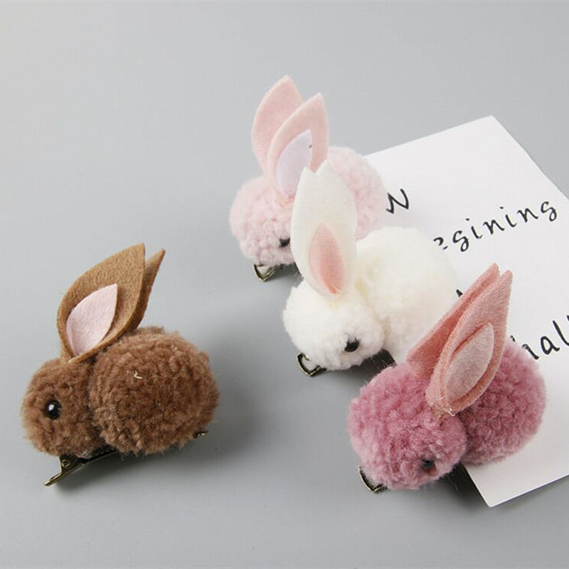 Cute Plush Rabbit Bunny Ears Kids Girl Hair Clips Bows Barrette Accessories for Children Hairclip Headdress   Headwear   Hairpin