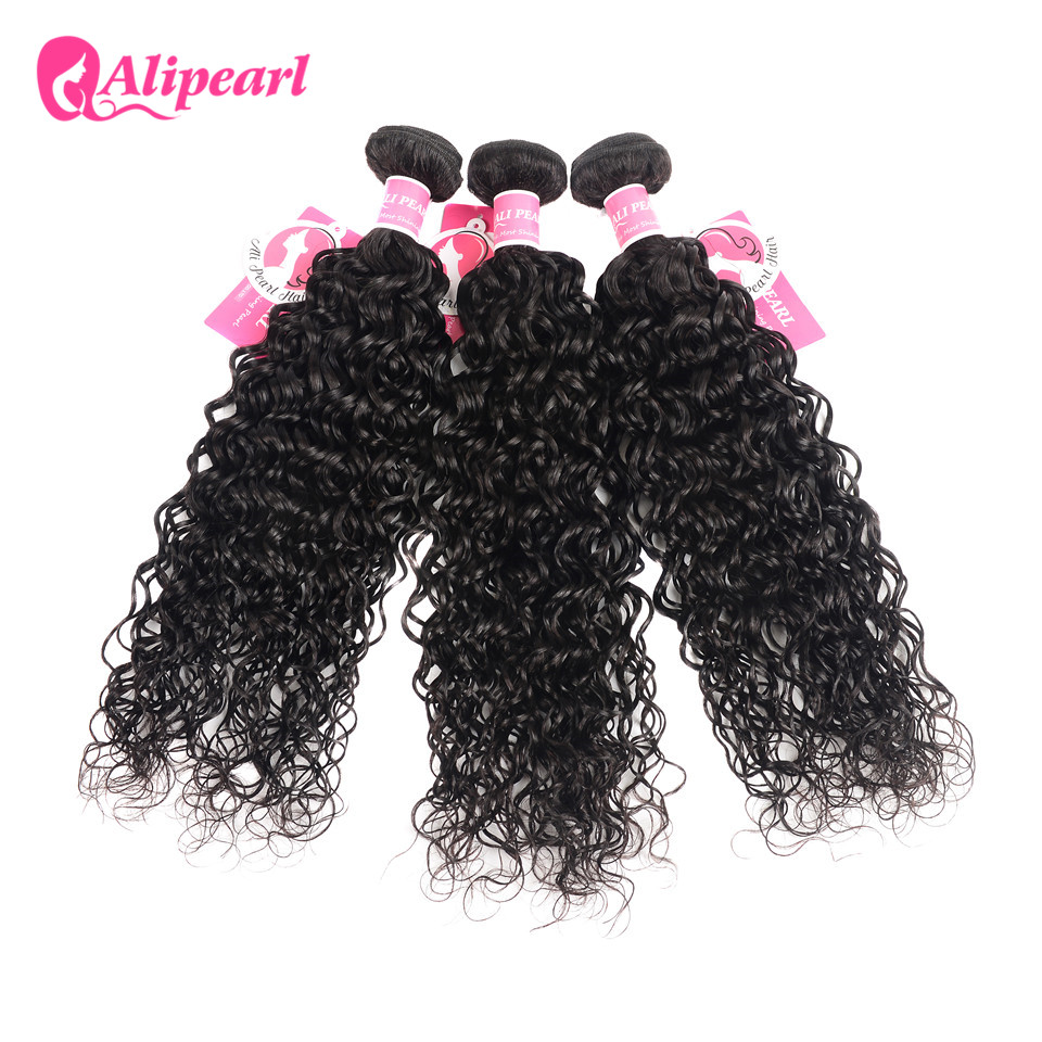 Alipearl Human Hair Loose Wave Bundles With Frontal Pre Plucked Peruvian Hair Weave Bundles 3pcs Natural Color Remy Hair Human Hair Weaves