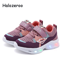 Spring Children Glowing Sneakers Kids Mesh Casual Shoes Toddler Light Shoes Baby Girls LED Sport Sneakers Boys Black Shoes 2019