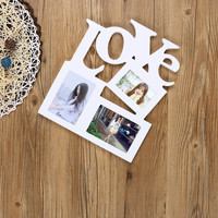 Taotown New DIY Durable Hollow Love Wooden Photo Picture Frame Placed Home Decor