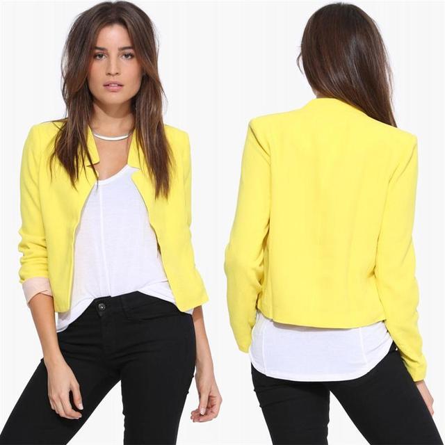 Women's Blazer Candy Color Cardigan Notched Collar Blazers Women 2016 Autumn Casual  Fashion Ladies Jacket Coat Blazer Femini
