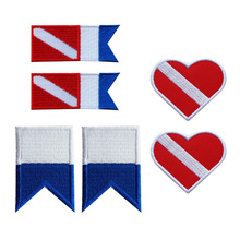 Perfeclan 3 Pairs Scuba Diving Diver Down Flag Alpha Embroidery Patch