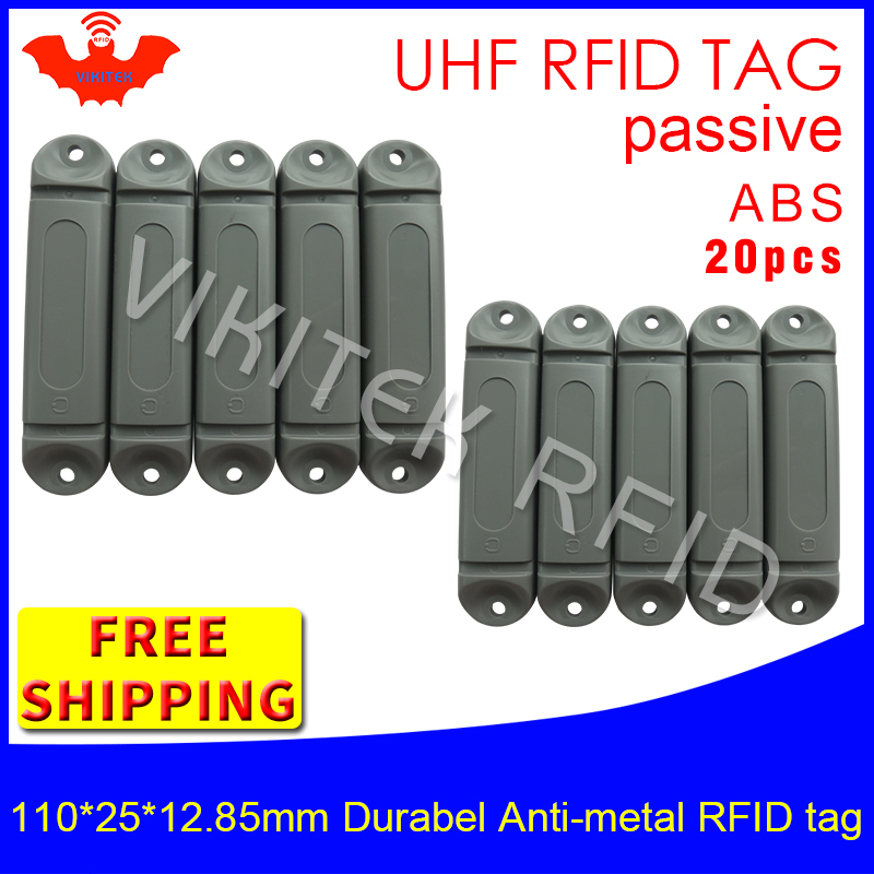 UHF RFID metal tag 915m 868mhz M4QT EPC 110*25*12.85mm 20pcs free shipping durable ABS storing cage smart card passive RFID tags