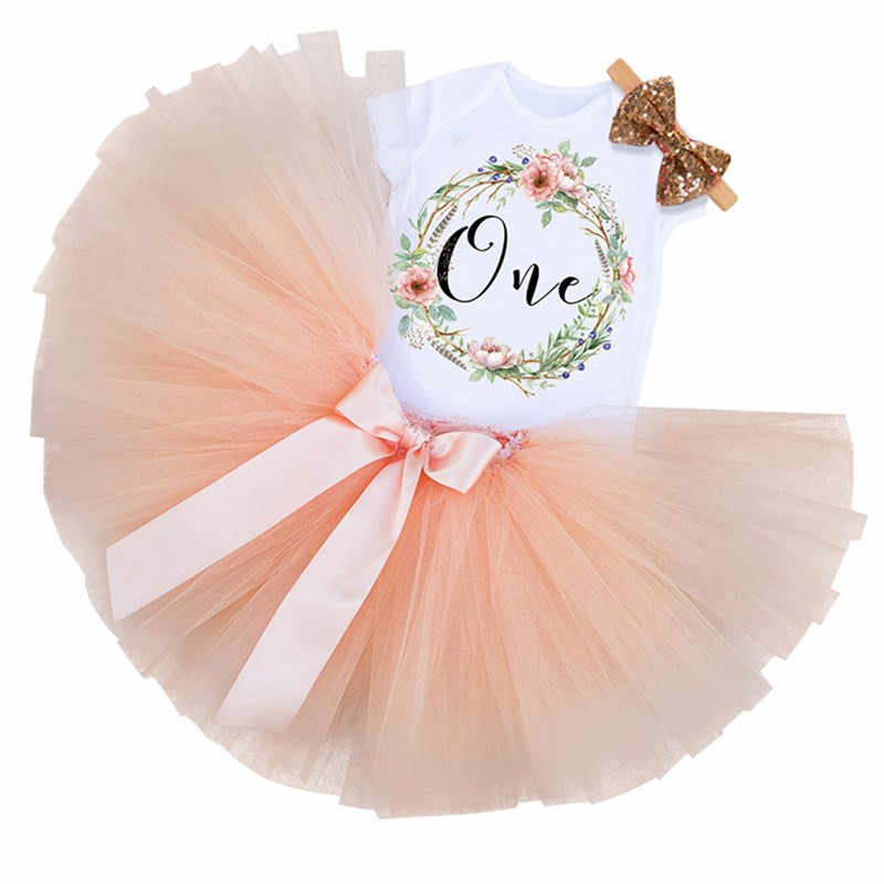 0a0ac71d2 1 Year Birthday Dress for 1st First Baby Kids Girl Photo Bebes Baby Romper +Pettiskirt
