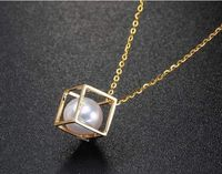 elegant natural south sea white pearl lucky cube pendant necklace 18inch