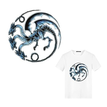 Cool House Targaryen Dynasty Dragon Iron On Sticker for Men T-shirts Stickers On Clothes DIY Heat Transfer Washable Patches image