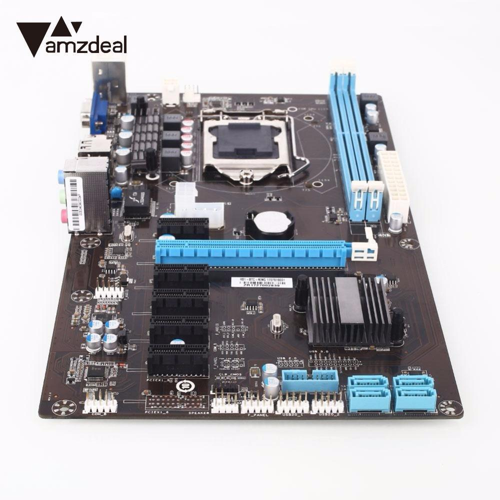 AMZDEAL High quality Motherboard for Intel H81 chipset PCI-E 1X H81 6GPU New High Speed Integrated Graphics Computer for Ming high quality desktop motherboard for 580
