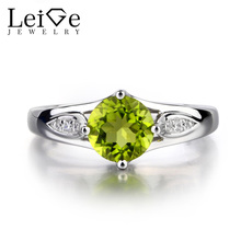 Leige Jewelry Round Cut Peridot Engagement Ring Sterling Sliver For Woman Wedding ring Gemstone Jewelry August Birthstone