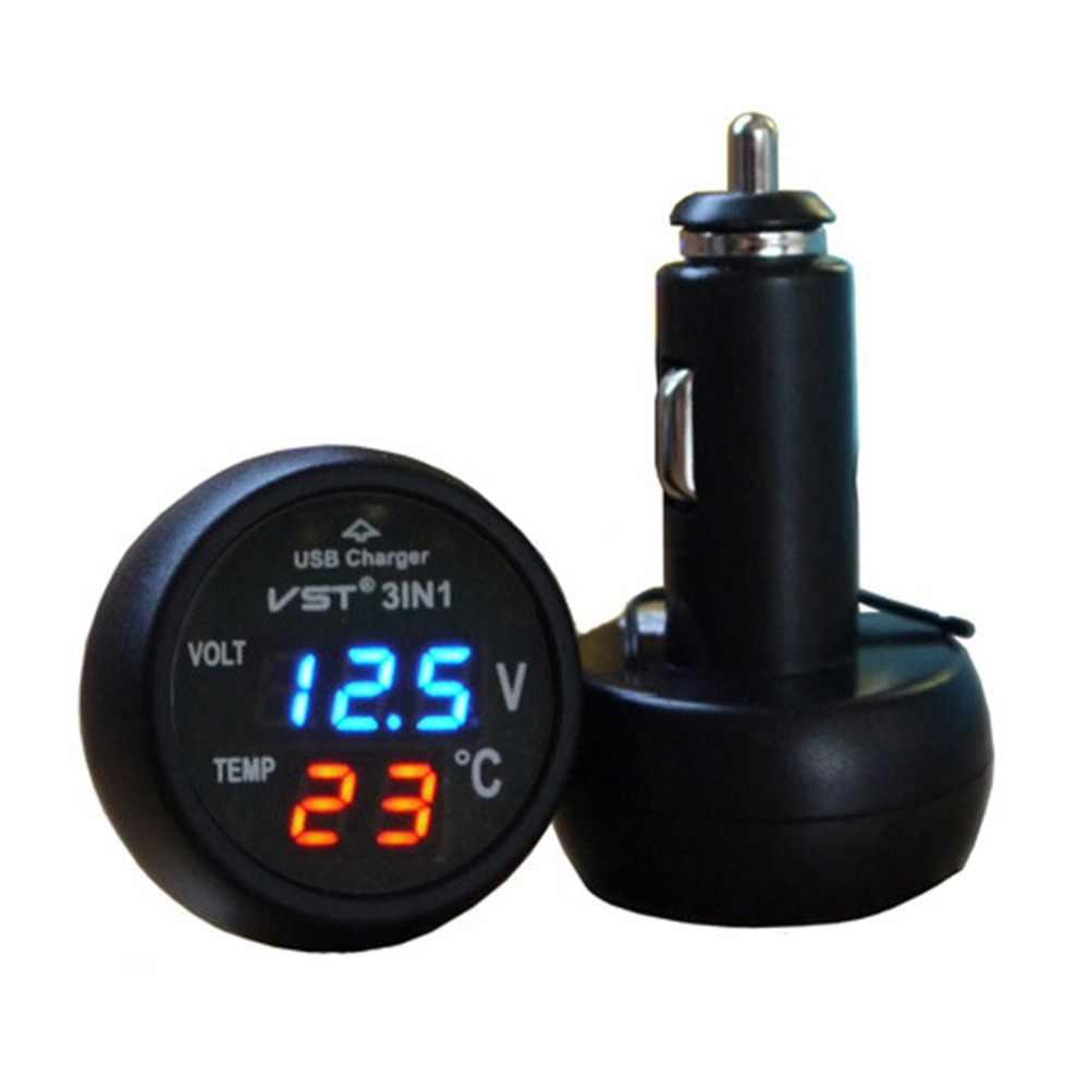 3 в 1 Авто Цифровой светодиодный термометр напряжение обнаружения Таблица USB Автомобильное зарядное устройство сигареты Вольтметр метр многофункц