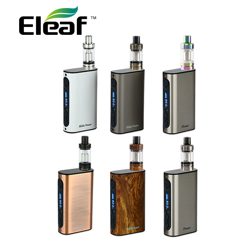цена на Original 80W Eleaf iPower Vape Kit 5000mah with 4ml Eleaf Melo 3 Tank Atomizer Electronic Cigs 5000mah Eleaf iPower 80W Battery